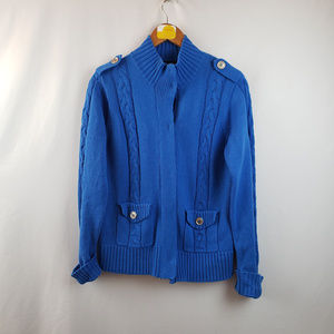 Denim & Co. Womens Cable Knit Button Up Cardigan